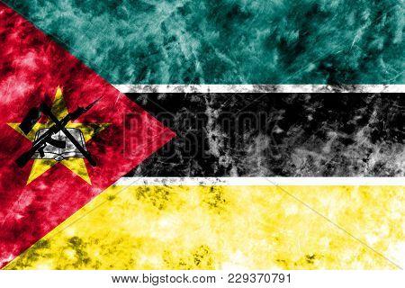 Old Mozambique Grunge Background Flag, Vintage Look