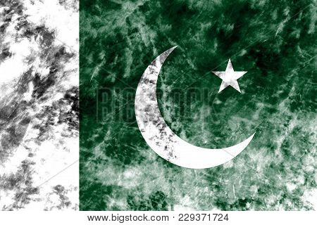Old Pakistan Grunge Background Flag, Vintage Look