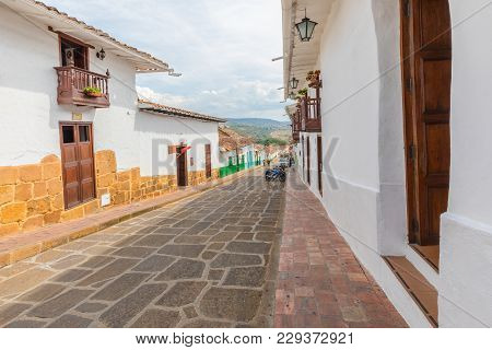Barichara February 2018 A Detail Of Barichara. Colombian Style Colonial Village Known For Its Tranqu