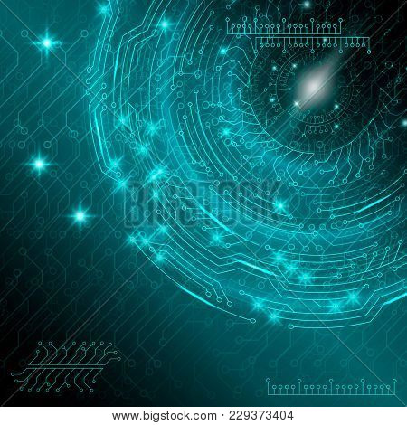 Blue Abstract Digital Technological Background With Various Rotating Elements. Vector Illustration.