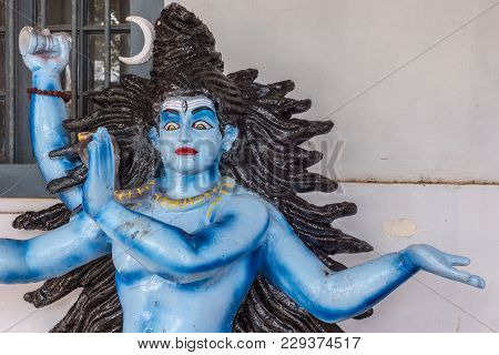 Madikeri, India - October 31, 2013: Closeup Of Lord Shiva Torso Of Blue Procession Doll, On Display