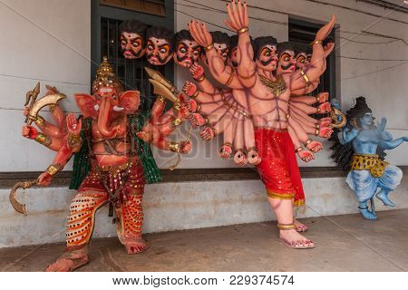 Madikeri, India - October 31, 2013: Full Body Of Ravana With Twenty Arms And Ten Heads, Ganesha And