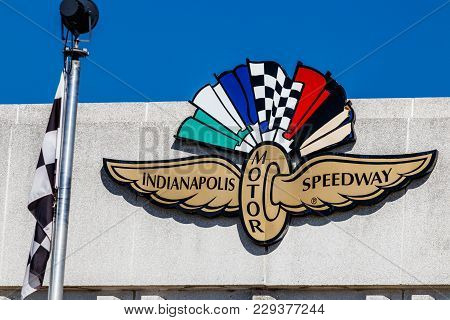 Indianapolis - Circa March 2018: Logo And Signage Of The Indianapolis Motor Speedway. Ims Hosts The