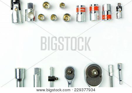 Socket Spanner Wrenches On White Background For Mechanical Tools Concept.