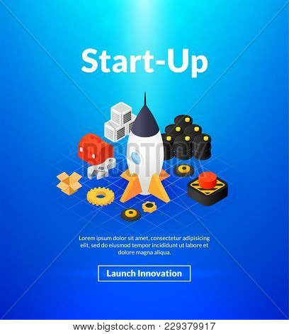 Startup Poster Of Isometric Color Design, Innovation Business Concept Vector Illustration For Web Ba