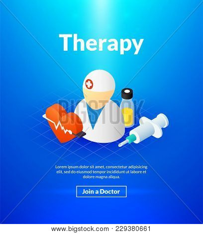 Therapy Poster Of Isometric Color Design, Medical Concept Vector Illustration For Web Banners And Pr