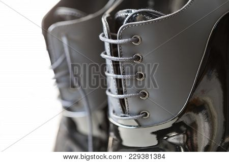 Men Shoes With Selective Focus On Laces. Fancy Laces Of Men Shoes.