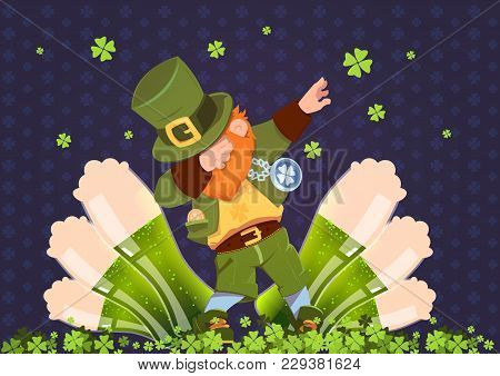 Happy St. Patricks Day Irish Festival Holiday With Green Leprechaun Over Glasses Of Beer Flat Vector