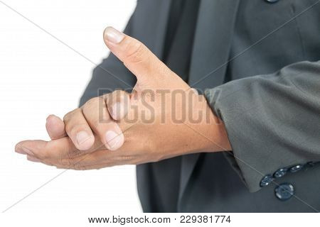 Man With Suit Clapping Hand On White Background