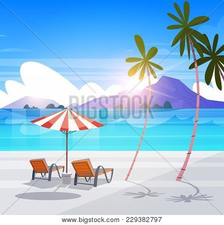 Deck Chairs On Tropical Beach Summer Seaside Landscape Exotic Paradise View Flat Vector Illustration