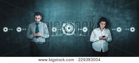 Man And Woman Chat On Smartphone. The Concept Of Sharing On Web.