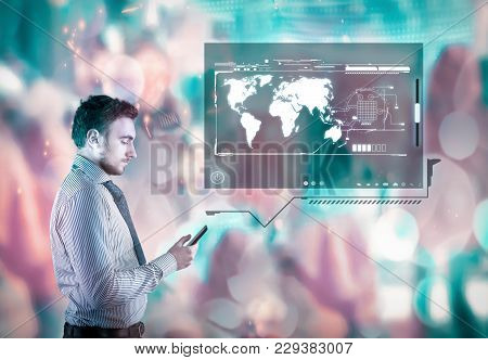 Businessman Using Smartphone Withhologram On A Colorful Background With Boken Lights.