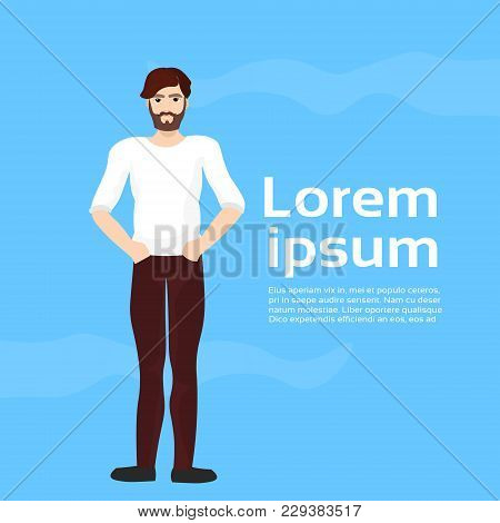 Handsome Man On Blue Background With Copy Space Attractive Bearded Stylish Guy Full Length Flat Vect