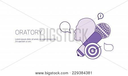Oratory Speaking Public Concept Template Web Banner With Copy Space Vector Illustration