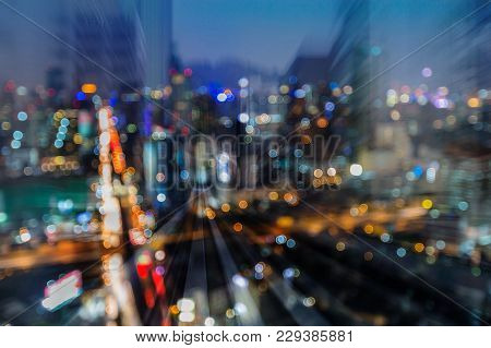 City Night Blurred Light Highway Interchanged Double Exposure Motion Blurred Light, Abstract Backgro