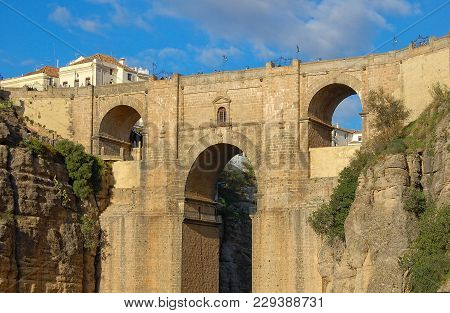 The New Bridge (puente Nuevo) High Above The El Tajo Gorge - Ronda, Andalusia, Spain