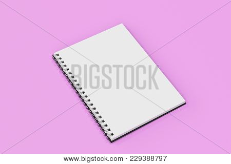 Opend Notebook Spiral Bound On Violet Background