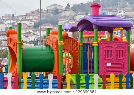 Detail Of A Colorful Playground In Ohrid For Preschool Age Kids