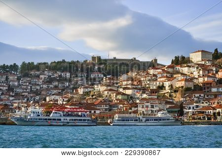 Old Part Of Ohrid City In Southern Macedonia During The Sunset