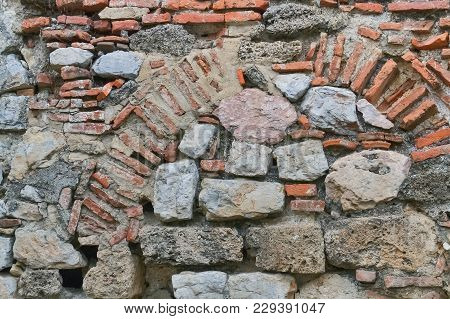 Detail Of A Very Old Stone Wall In Ohrid Dating From Byzantine Period
