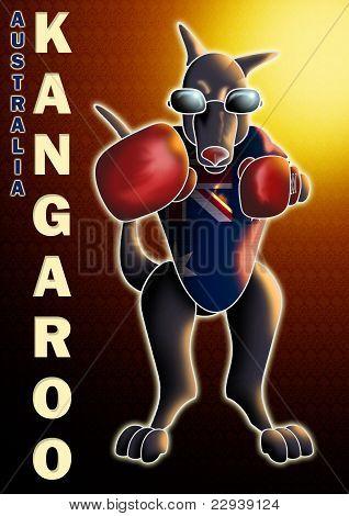 boxing kangaroo with background