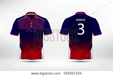 Blue, Red And White Lines Layout Football Sport T-shirt, Kits, Jersey, Shirt  Design Template