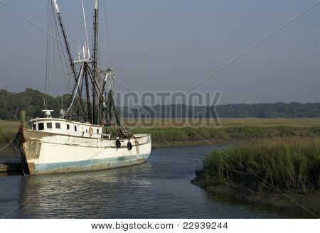 Old Shrimp Boat At Dock