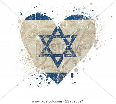 Heart Shaped Old Grunge Vintage Dirty Faded Shabby Distressed Israel Flag With Blue Star Of Judah (m