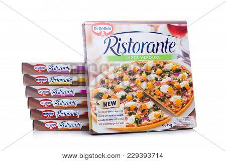 London, Uk - March 01, 2018: Boxes Of Dr.oetker Pizza Verdure On White Background With Reflection.