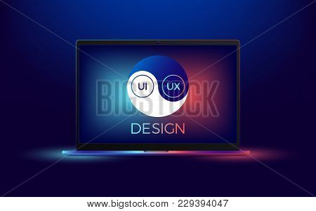 Vector Laptop With Ui And Ux Yin Yang. Illustration Of Computer Notebook With Yin Yang Symbol, Conce