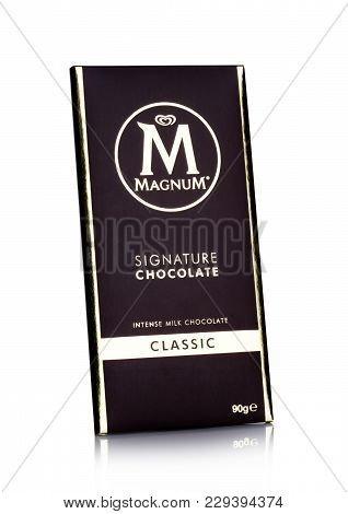 London, Uk - March 01, 2018: Luxury Chocolate Bar Of Magnum Signature Dark Chocolate On White Backgr