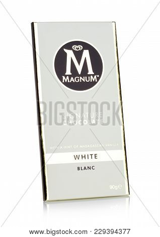 London, Uk - March 01, 2018: Luxury Chocolate Bar Of Magnum Signature White Chocolate On White Backg