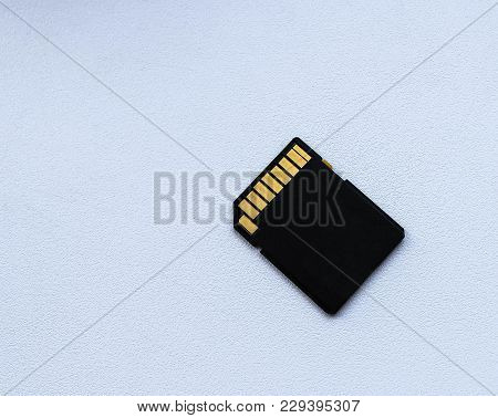 Black Memory Card Isolated On White Background