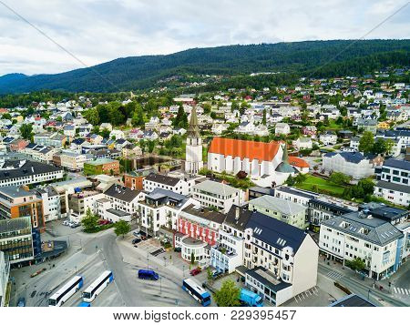 Molde Aerial Panoramic View. Molde Is A City And Municipality In Romsdal, Norway.