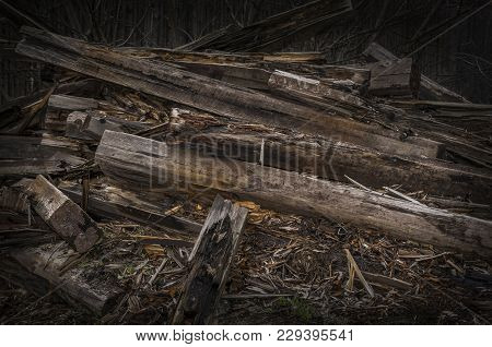 Wreckage Of Wood And Other Debris. Destroyed By The Earthquake Or Storm Building.