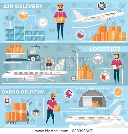 Airport Logistics And Delivery Management Set. Commercial Worldwide Shipping, Freight Transportation
