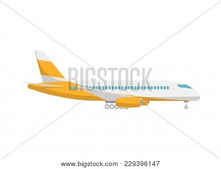 Takeoff Passenger Airplane Isolated Icon. Flying Aircraft, Commercial Airline Sign, Side View Jet Pl