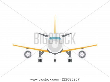 Takeoff Passenger Airplane Isolated Icon. Flying Aircraft, Commercial Airline Sign, Front View Jet P