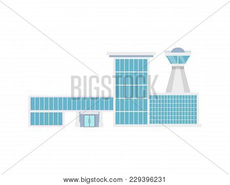 Airport Terminal With Flight Control Tower Icon. Air Passenger Infrastructure Illustration. Worldwid