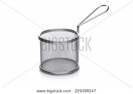 Stainless Steel Round Basket For French Fries On White Background