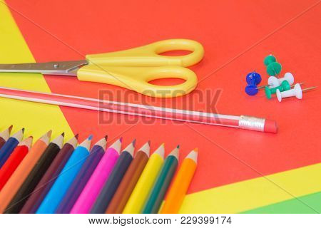 Color Pencils On Colorful Background. Beautiful Color Pencils. Color Pencils For Drawing. Back To Sc