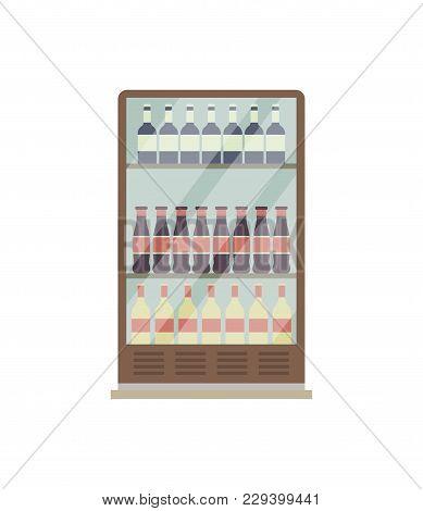 Showcase Refrigerator For Drinks Isometric 3d Icon. Supermarket Fridge Dispenser, Cooling Machine Is
