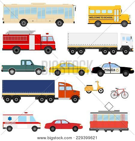 Urban Transport, Public Transport. A Set Of Cars And Buses. Flat Design, Vector Illustration, Vector