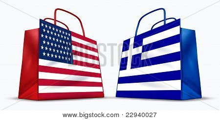 America and Greece trade symbol represented by two shopping bags with the American and the Greek flag with stars stripes and blue and white cross symbol showing the concept of trading between two trading partners. poster