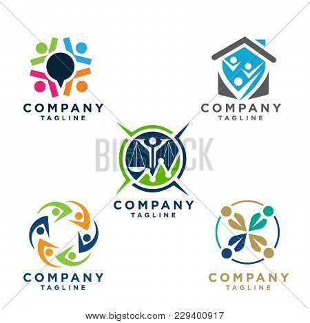 Simple Concept For Colorful Community People Logo. People Community Logo Set