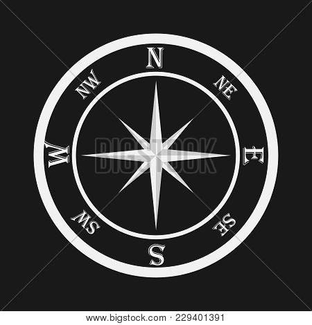 Compass, White Compass On A Black Background. Compass Icon. Flat Design, Vector Illustration, Vector
