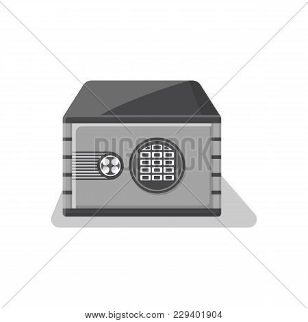 Armored Deposit Box Icon In Flat Style. Money Storage, Financial Safety, Cash Security, Bank Safe Bo