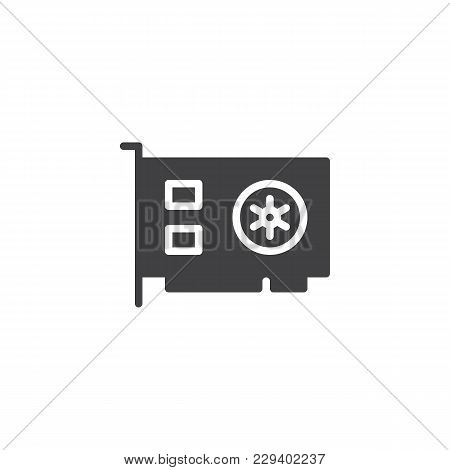 Computer Video Card Vector Icon. Filled Flat Sign For Mobile Concept And Web Design. Computer Parts