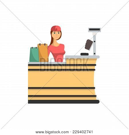 Supermarket Checkout Counter With Cashier Icon In Flat Style. Shopping In Supermarket, Retail And Di
