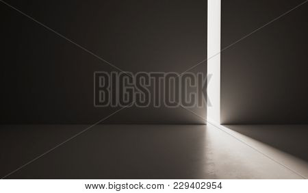 Large Empty Futuristic Hall With Slit. 3d Rendered Illustration.